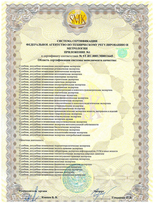 Система сертификации приложение №1- перечень экспертиз